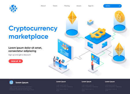 Cryptocurrency marketplace isometric landing page. Cryptocurrency trading platform isometry concept. Online buy, sell and exchange service flat web page. Vector illustration with people characters.