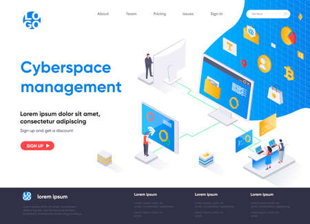Cyberspace management isometric landing page. Digital security and network management software isometry concept. Operate and control system flat web page. Vector illustration with people characters.