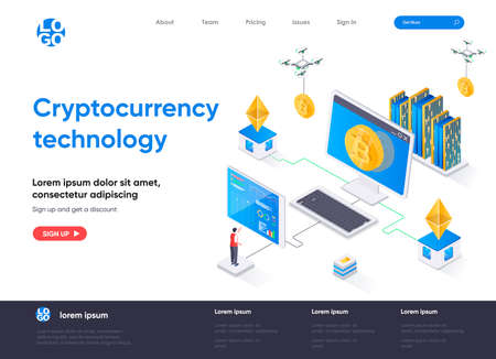 Cryptocurrency technology isometric landing page. Cryptography and blockchain fintech isometry concept. Cryptocurrency mining software flat web page. Vector illustration with people characters.