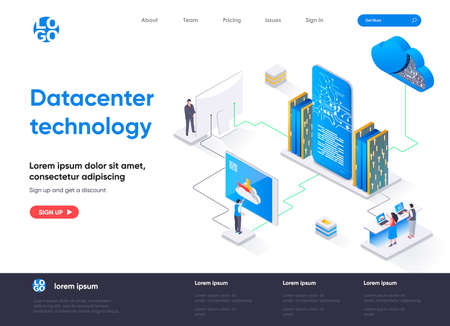 Data center technology isometric landing page. Internet hosting service isometry concept. Data center computing and networking equipment flat web page. Vector illustration with people characters.
