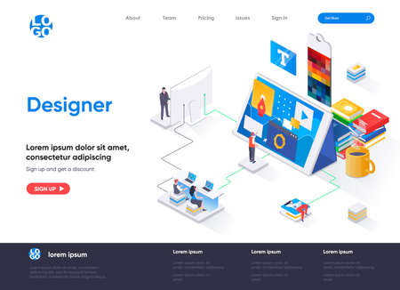 Designer isometric landing page. Website development, UI UX design isometry concept. Professional branding, creativity and ideas visualization flat web page. Vector illustration with people characters