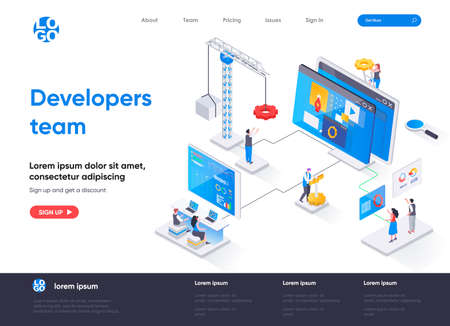 Developers team isometric landing page. Full stack software development company isometry concept. App engineering, programming and testing flat web page. Vector illustration with people characters. Stock Illustratie