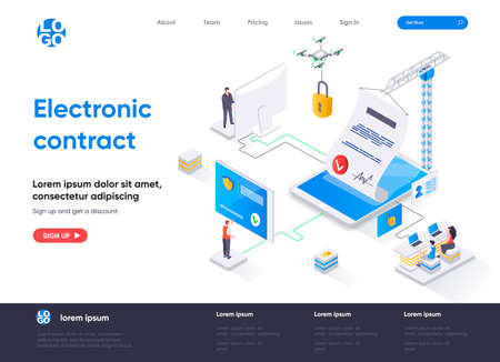 Electronic contract isometric landing page design. Online sign contract or documents technology isometry concept. Digital signature solution flat web page. Vector illustration with people characters.