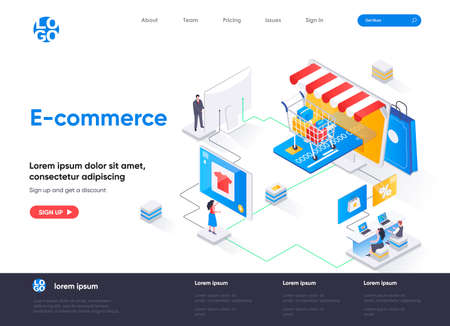 E-commerce isometric landing page design. Online shopping marketplace isometry concept. Retail distribution, order and delivery application flat web page. Vector illustration with people characters. Stock Illustratie