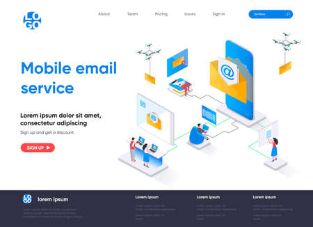 Mobile email service isometric landing page. Email smartphone app, social network messaging isometry concept. Online people communication software web page. Vector illustration with people characters. Stock Illustratie