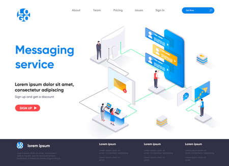 Messaging service isometric landing page. Internet messenger mobile application isometry concept. Online people communication, chatting app flat web page. Vector illustration with people characters.