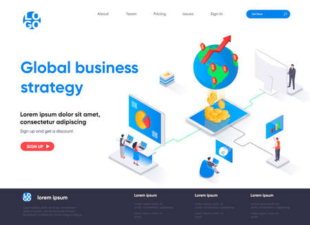 Global business strategy isometric landing page. International corporation management isometry concept. Data analysis and strategy planning flat web page. Vector illustration with people characters. Stock Illustratie