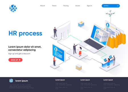 HR process isometric landing page. Human resource management and staff headhunting isometry concept. Study CV of candidates in recruiting agency web page. Vector illustration with people characters.