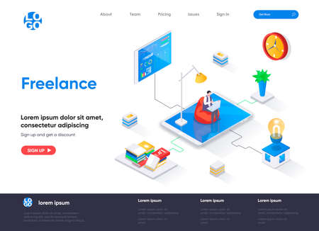 Freelance isometric landing page. Outsourcing services, home office isometry concept. Professional self employed occupation, remote workforce flat web page. Vector illustration with people characters. Stock Illustratie
