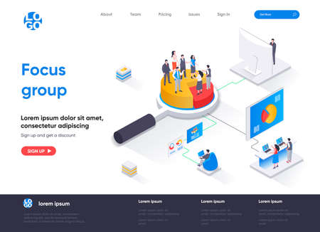 Focus group isometric landing page. Market research method isometry concept. Collective discussion and feedback, focused interview of consumers web page. Vector illustration with people characters.