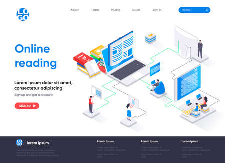 Online reading isometric landing page. Distance education and knowledge isometry concept. E-book reading application, online library service flat web page. Vector illustration with people characters. Stock Illustratie