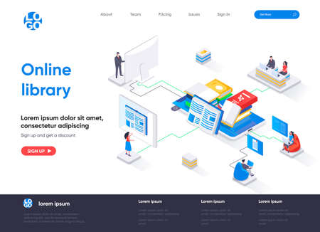Online library isometric landing page. E-library application, electronic books service isometry concept. Distance education and knowledge flat web page. Vector illustration with people characters.