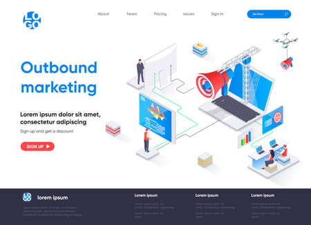 Outbound marketing isometric landing page. Online advertising and promotion in social media isometry concept. Outbound marketing activities flat web page. Vector illustration with people characters.