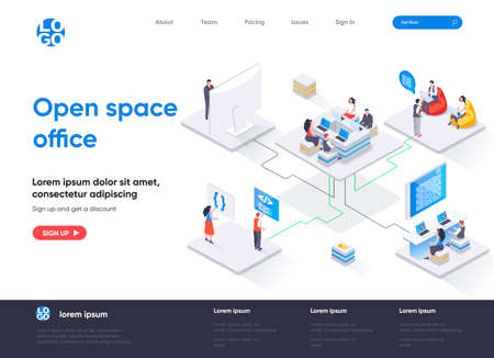 Open space office isometric landing page. Collaboration at coworking open space isometry concept. Comfortable workplace for developers team flat web page. Vector illustration with people characters.