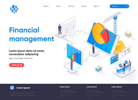 Financial management isometric landing page. Data analysis and strategy planning isometry concept. Business forecasting and risk management flat web page. Vector illustration with people characters. Stock Illustratie