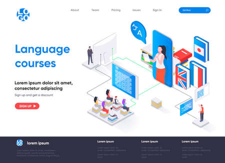 Language courses isometric landing page. Online language tutors, teaching service isometry concept. E-learning platform, distance education flat web page. Vector illustration with people characters. Stock Illustratie