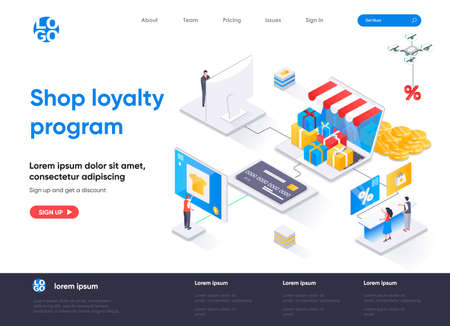 Shop loyalty program isometric landing page. Marketing strategy of attracting and retaining customers isometry concept. Online retail loyalty flat web page. Vector illustration with people characters. Stock Illustratie