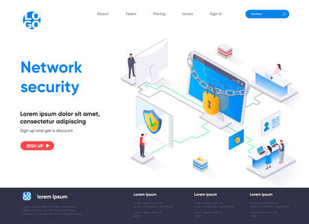 Network security isometric landing page. Firewall software, password identification and privacy isometry concept. Network cybersecurity solution flat design. Vector illustration with people characters
