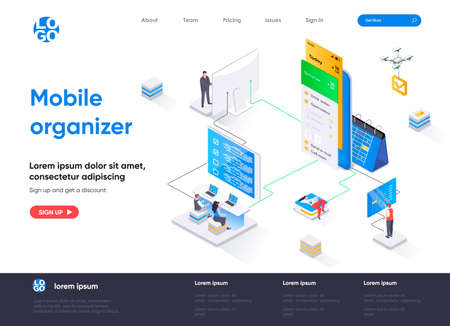 Mobile organizer isometric landing page. Mobile application for business planning isometry concept. Organizing work activities and tasks flat web page. Vector illustration with people characters.