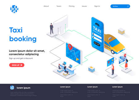 Taxi booking isometric landing page design. Taxi mobile application isometry concept. Online booking service of passenger transportation flat web page. Vector illustration with people characters. Stock Illustratie