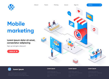 Mobile marketing agency isometric landing page. Targeting marketing campaign isometry concept. Mobile platform for advertising and promotion flat web page. Vector illustration with people characters. Stock Illustratie