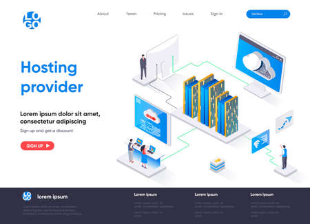Hosting provider isometric landing page. Website hosting service isometry concept. Internet provider hardware and software technology flat design. Vector illustration with people characters. Stock Illustratie