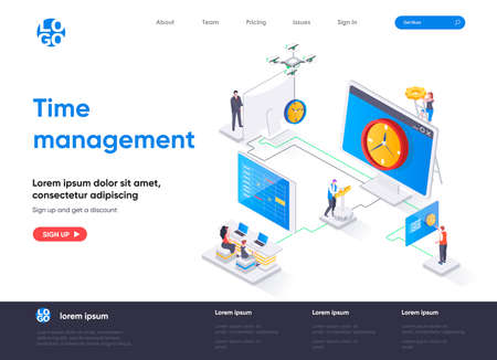 Time management isometric landing page. Effective planning workflow and performing tasks isometry concept. Adherence to deadlines, high work productivity. Vector illustration with people characters.