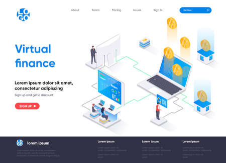 Virtual finance isometric landing page. Internet banking service, financial management isometry concept. Online money transaction and payment flat web page. Vector illustration with people characters.