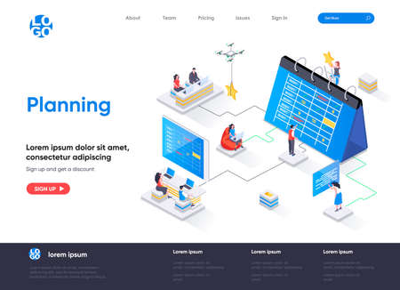 Planning isometric landing page. Business planning, organizing work activities and tasks isometry concept. Time management and high productivity flat design. Vector illustration with people characters