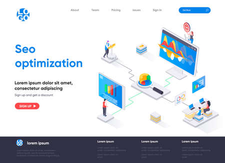 Seo optimization isometric landing page design. Internet analytics, online research software isometry concept. Website optimization for relevant searches. Vector illustration with people characters. Stock Illustratie
