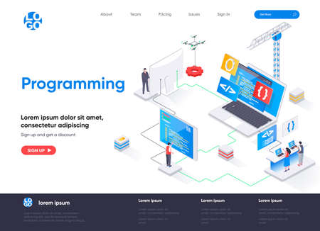 Programming isometric landing page. Full stack software development, engineering, programming isometry concept. Outsourcing company service flat web page. Vector illustration with people characters.
