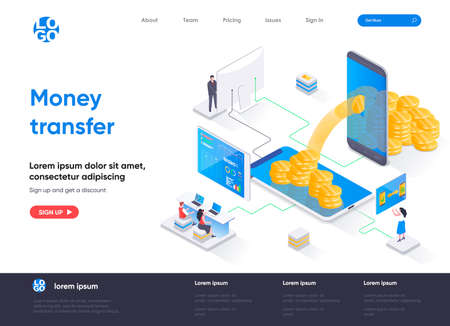 Money transfer isometric landing page. Internet banking mobile application isometry concept. Online money transaction and payment service flat web page. Vector illustration with people characters.