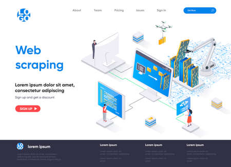 Web scraping isometric landing page. Process of automatic collecting and parsing raw data from web isometry concept. Data extraction software flat design. Vector illustration with people characters.