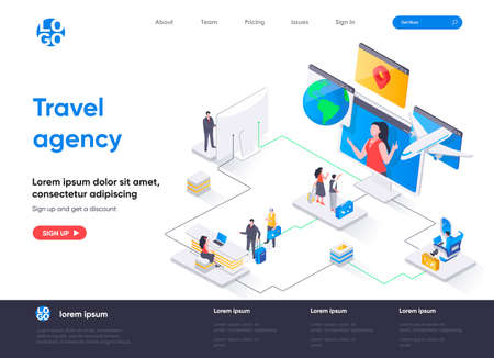 Travel agency isometric landing page. Online booking service, comfortable air transportation, airport boarding isometry concept. Tour operator flat web page. Vector illustration with people characters