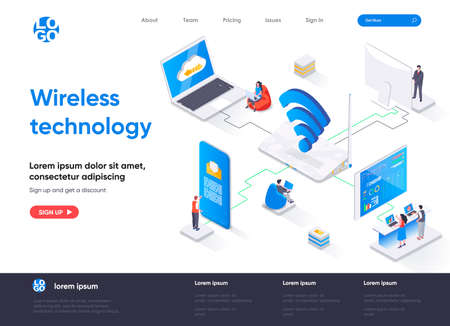 Wireless technology isometric landing page. WiFi network communication, Internet sharing isometry concept. Various gadgets network connection flat web page. Vector illustration with people characters.