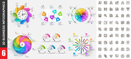 Bundle 3d infographics vector design template with set business icons pixel perfect. Can be used for steps, business processes, workflow, diagram, flowchart concept, marketing icons, info graphics.