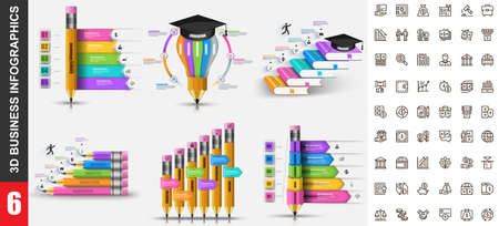 Bundle 3d infographics vector design template with set business icons pixel perfect. Can be used for steps, education processes, workflow, diagram, flowchart concept, education icons, info graphics.