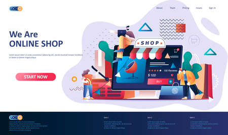 Online shopping flat landing page template. Web solution for online shopping platform web banner. E-commerce business, order and delivery service 3d composition. Web page vector illustration.