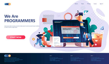Programming software flat landing page template. Full stack software development, engineering, programming and testing web banner. 3d composition, outsourcing company. Web page vector illustration.