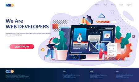 Web development flat landing page template. Website construct, prototyping and programming web banner. UI UX designer workplace 3d composition, development company. Web page vector illustration.