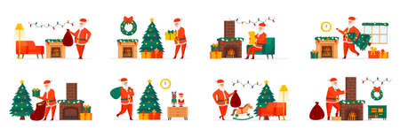 Christmas Santa Claus bundle of scenes with flat people characters. Santa Claus reading wish list and presenting gifts situations. Merry Xmas and Happy New Year celebration cartoon vector illustration Vector Illustration