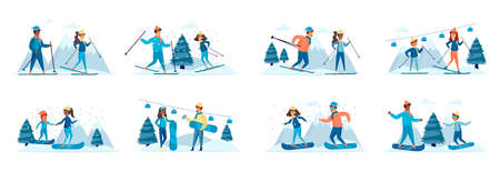 Winter sports activities bundle of scenes with people characters. Happy skiers and snowboarders having fun on ski resort conceptual situations. Wintertime holidays vacation cartoon vector illustration