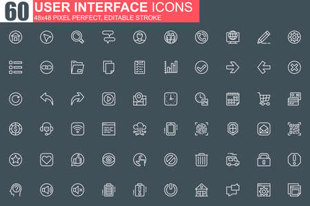 User interface thin line icon set. Organization and management outline pictograms for website and mobile application. User menu simple UI, UX. Grid 48x48 pixel perfect linear vector icons pack.