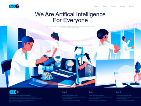 We are Artificial Intelligence for everyone isometric landing page. Machine learning, smart technology isometry website page. Scientists working in lab, vector illustration with people characters.