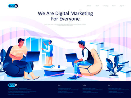 We are Digital Marketing for everyone isometric landing page. Business analytics isometry website page. Marketers discussing market research web concept, vector illustration with people characters.