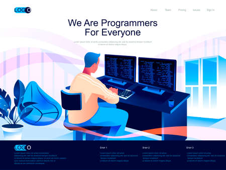 We are Programmers for everyone isometric landing page. Software development skills isometry website page. Man working on computer web concept in flat style, vector illustration with people character