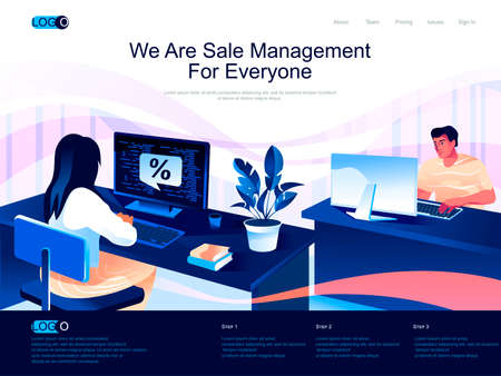 We are Sale Management for everyone isometric landing page. Analyzing and developing salesforce isometry website. Manager working on computer web concept, vector illustration with people characters.