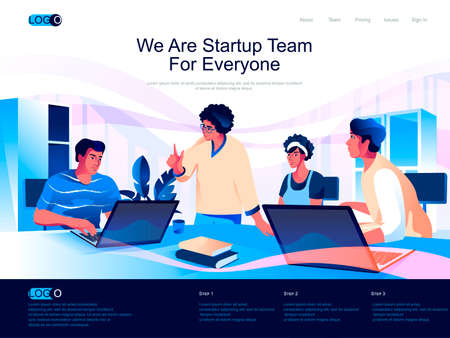 We are Startup Team for everyone isometric landing page. Business innovation isometry website. Team of startup founders discussing new project web concept, vector illustration with people characters.