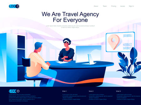 We are Travel Agency for everyone isometric landing page. Tour choosing and booking isometry website page. Travel agent talking with client web concept, vector illustration with people characters.