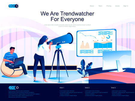 We are Trendwatcher for everyone isometric landing page. Trend watching and marketing research isometry website page. Marketer study data web concept, vector illustration with people characters.